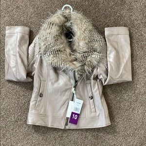 Jessica Simpson Faux Leather Faux Fur Jacket